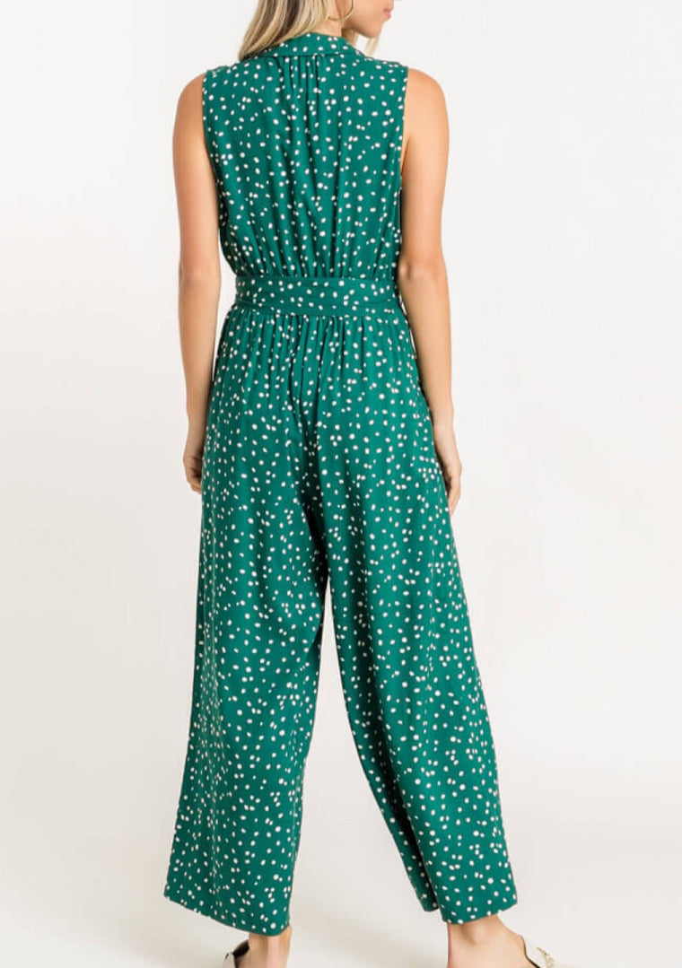 printed collared jumpsuit