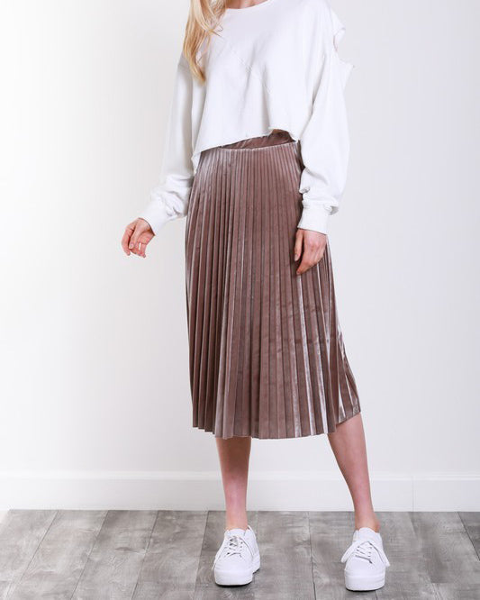 FIONA PLEATED VELVET SKIRT