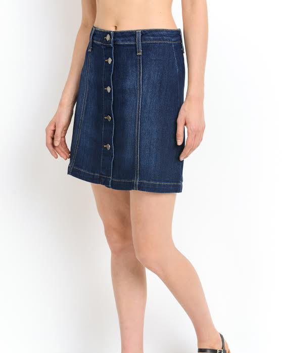 A LINE BUTTON DENIM SKIRT