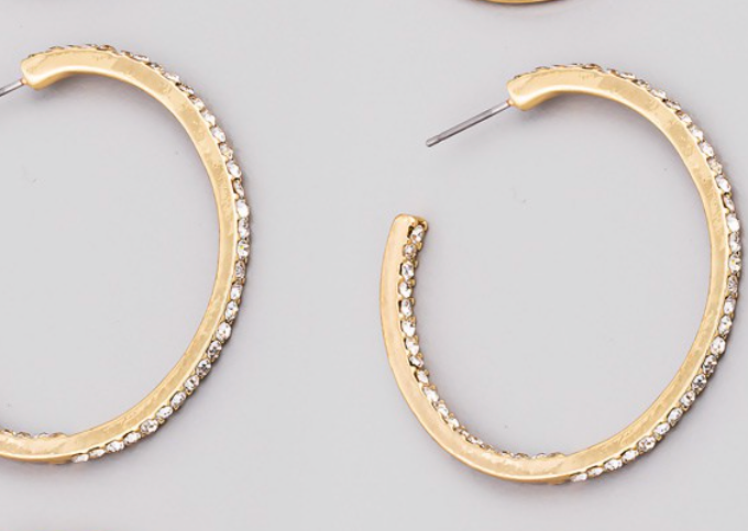STUDDED GOLD HOOPS
