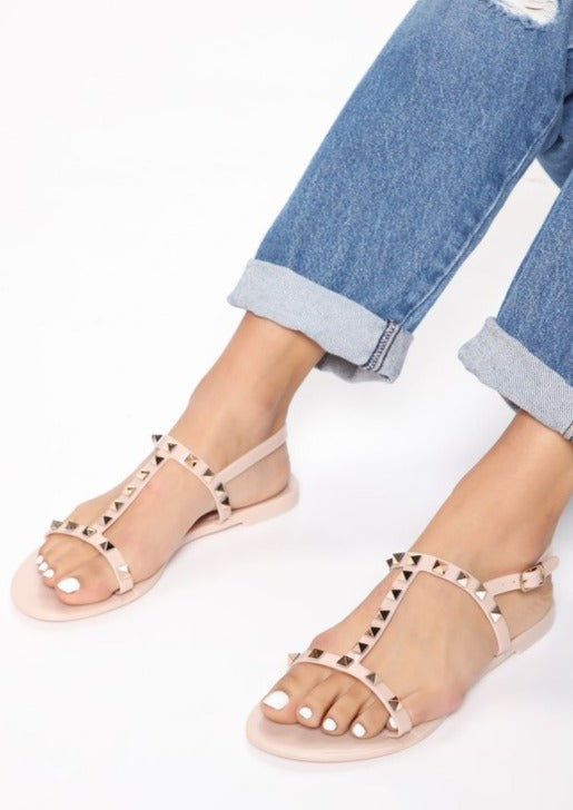 T STRAP STUDDED JELLY SANDALS