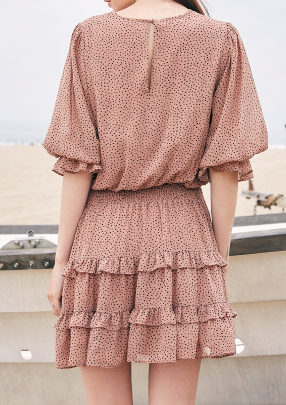 ruffle neutral dress