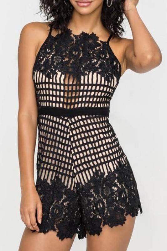 LILY LACE ACCENT COCKTAIL ROMPER