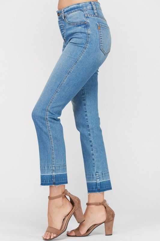 CINDY LOU WASHED COTTON STRETCH DENIM JEANS