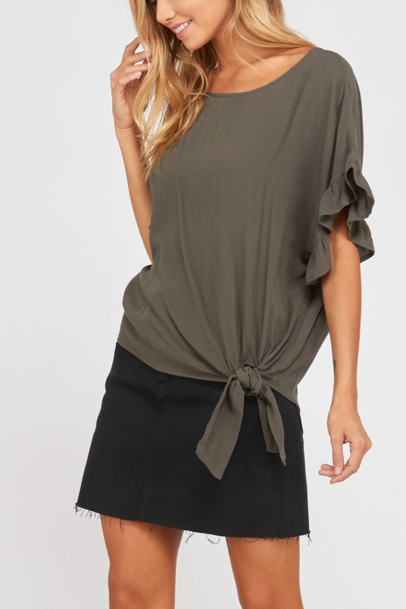 ALLIE RUFFLED SLEEVE CREPE BLOUSE