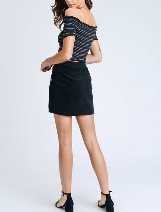KAIA BLACK CORD SKIRT