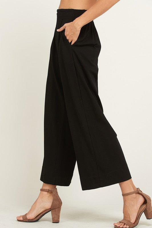 MINDY WIDE LEG PLEATED KNIT PANT