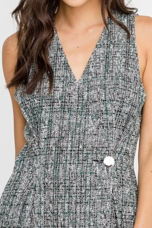 MEGHAN PLAID TWEED BUTTON ACCENT DRESS