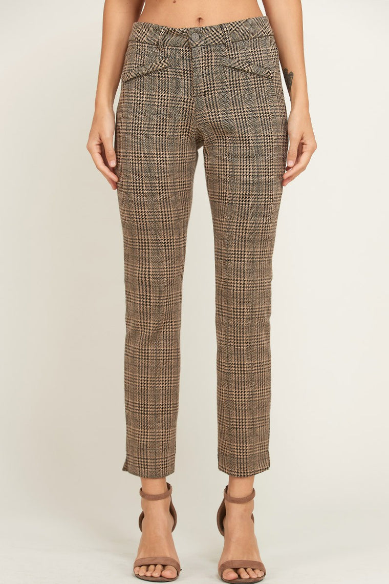 EMILY PLAID STRETCH KNIT PANTS