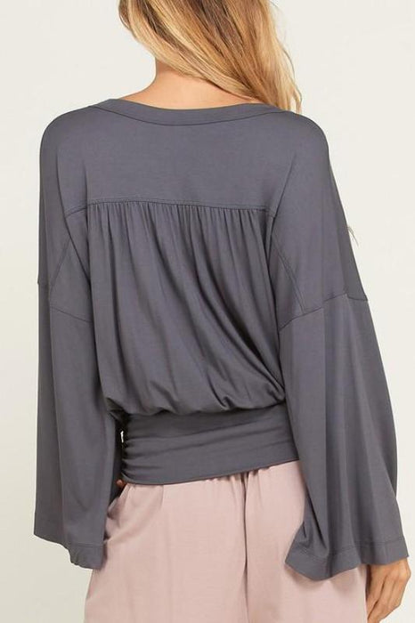 LUCY LONG SLEEVE BOW SURPLICE TOP