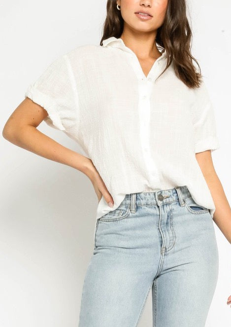 GAUZE BUTTON DOWN TOP