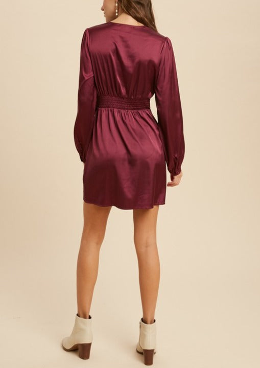 ZOE SATIN BUTTONS MINI DRESS