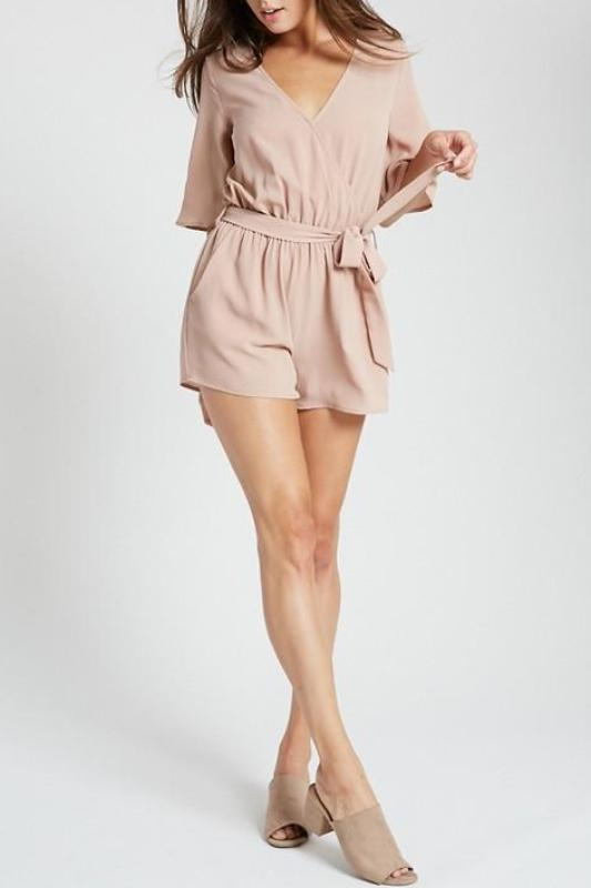 LIZZI SHORT SLEEVE BELTED ROMPER
