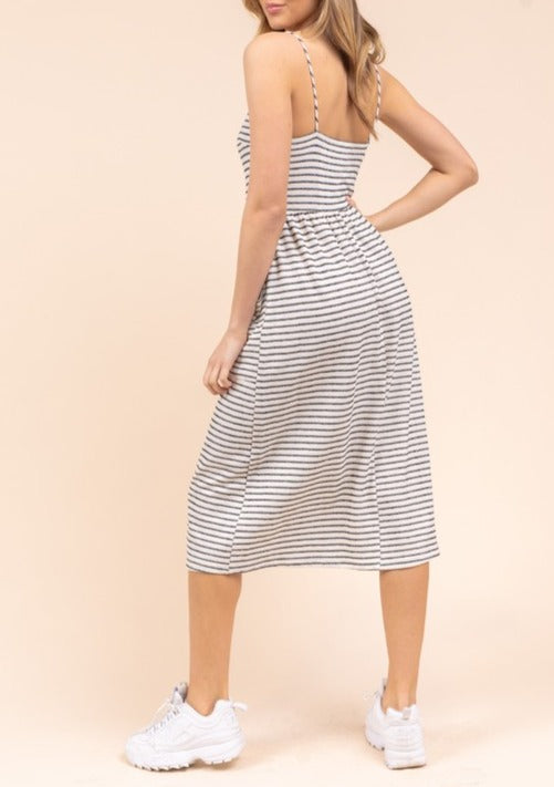 ALISON STRIPED MIDI DRESS