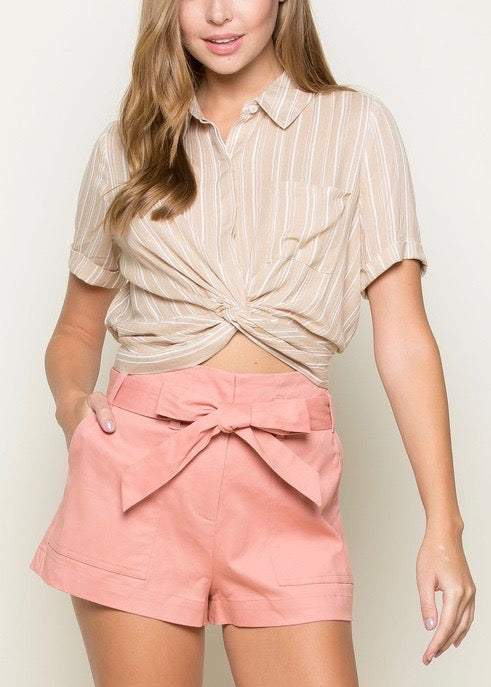 DIANE BUTTON DOWN CROP TOP