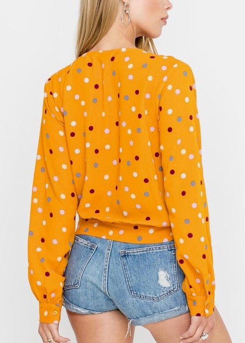 MUSTARD DOT LONG SLEEVE WRAP TOP