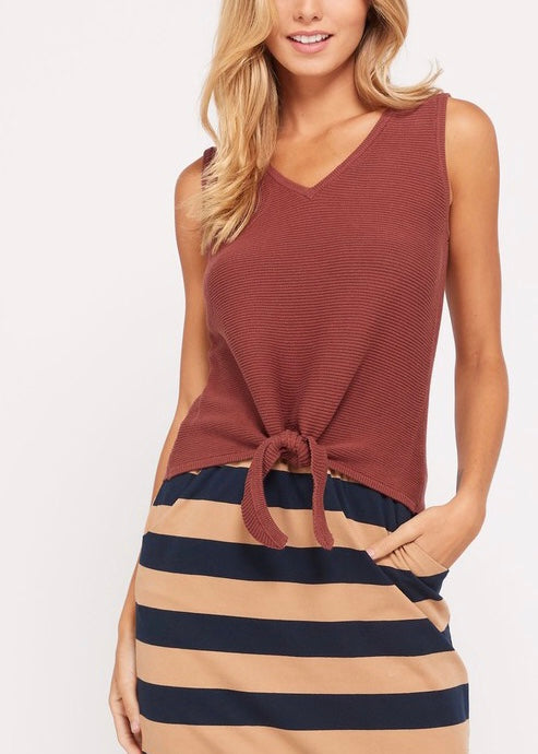 V-NECK TIE KNIT TOP