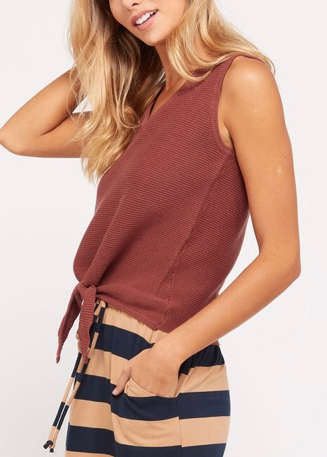 SLEEVELESS KNIT COTTON TOP WITH TIES