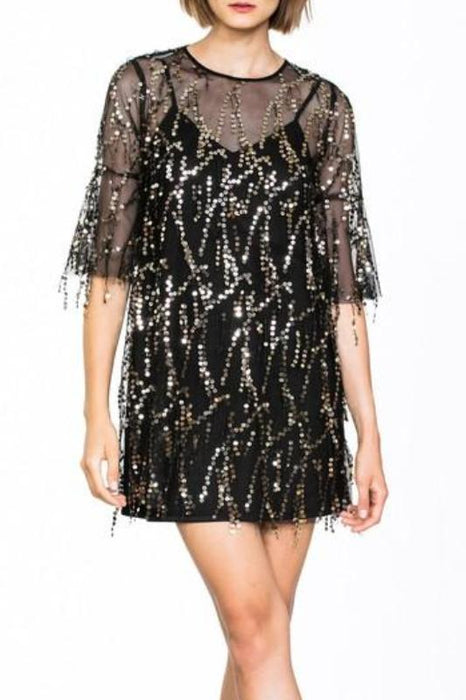 SONYA GLITZY BLACK AND GOLD SEQUIN BELL SLEEVE MINI DRESS