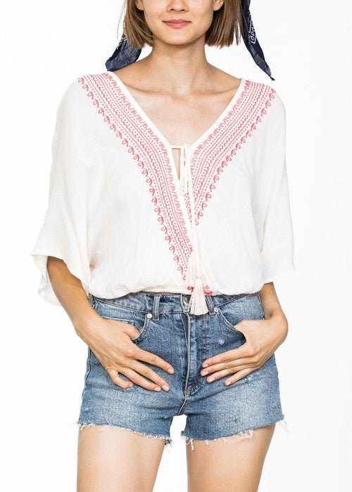 FAUX WRAP TASSEL TIE TOP