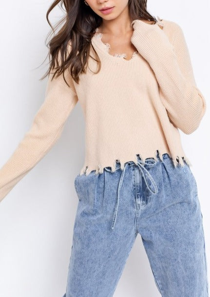 TERRY DISTRESSED V-NECK SWEATER