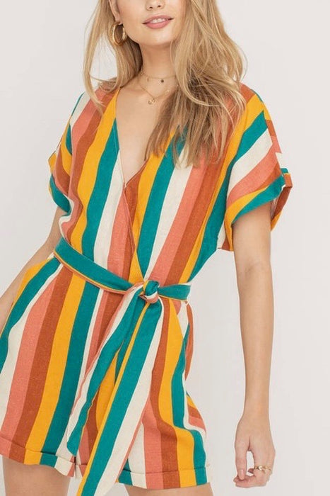 STRIPED ROMPER WITH TIE WAIST