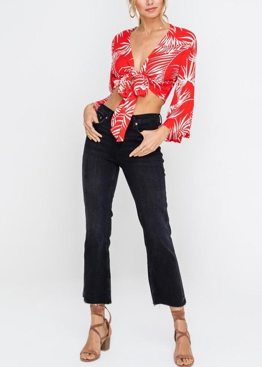 MOANA PALM FRONT TIE TOP