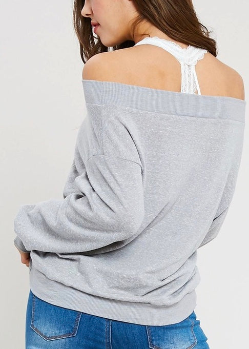 GREY MARBLED SWEATSHIRT