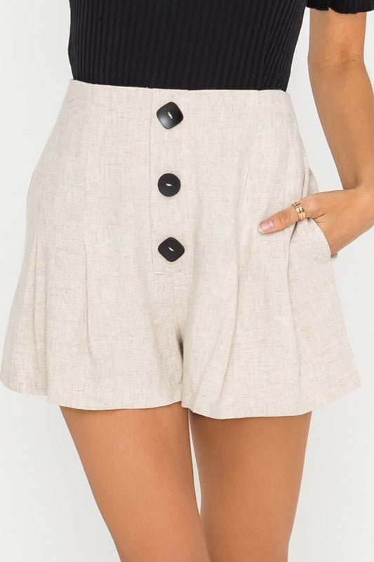 QUINN BUTTON DETAIL FLOWY SHORTS