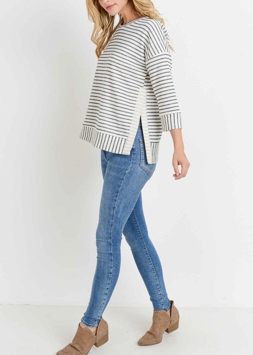 Striped French Terry Three Quarter Sleeve Top With Side Slit