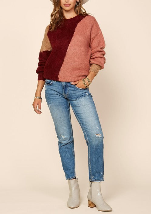 ALYSON COLOR BLOCK SWEATER