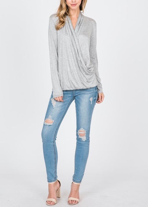 CUTE AND COZY SURPLICE WRAP TOP