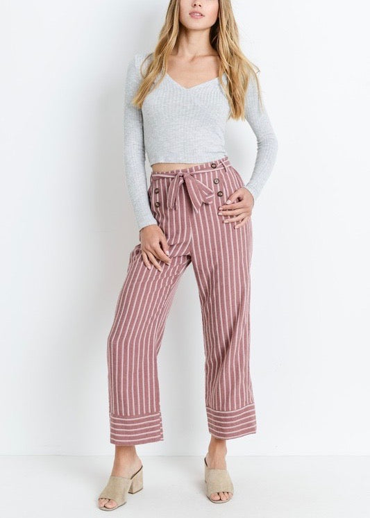 AHOY TIE WAIST STRIPED PANTS