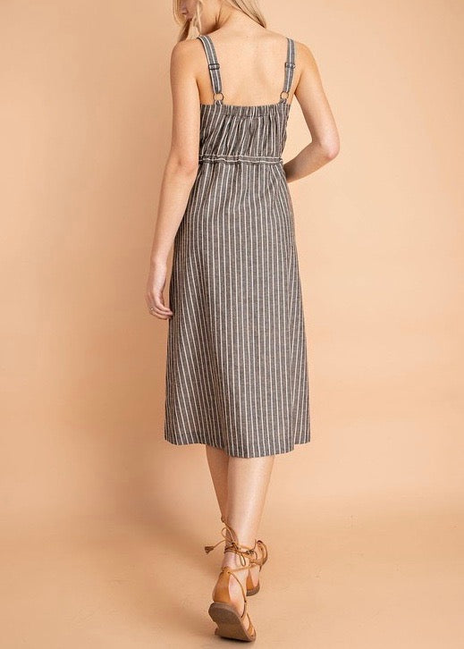 JODI STRIPED DRAWSTRING DRESS