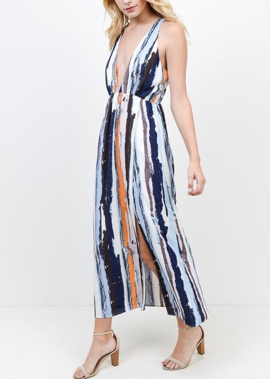 DAY DATE MULTI STRIPE MAXI DRESS