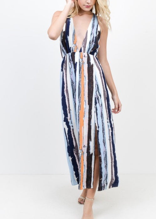 2 THIGH-HIGH SLIT MULTI COLOR DRESS