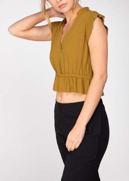 DION PEPLUM CROP TOP