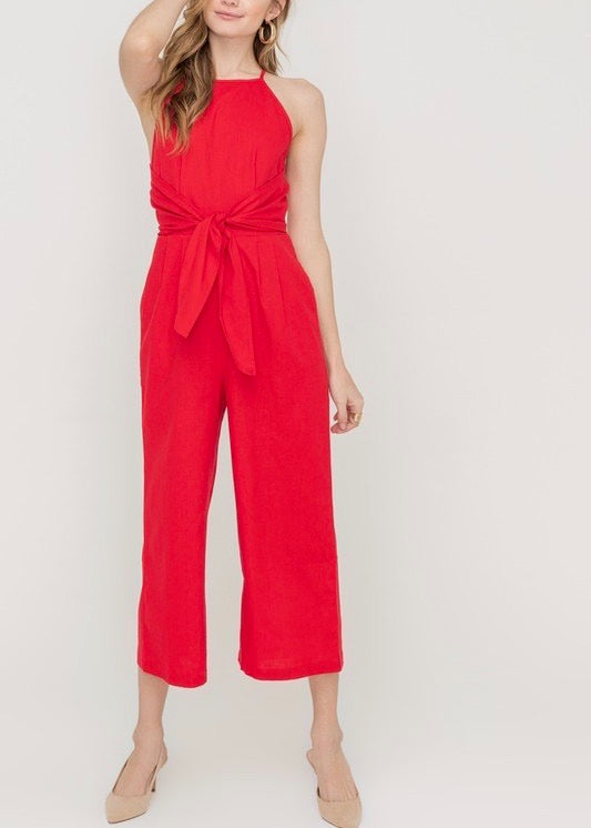 lipstick red jumpsuit