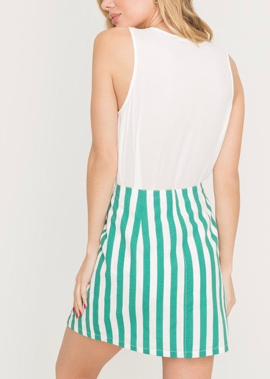 GREEN STRIPED 2-PIECE SET