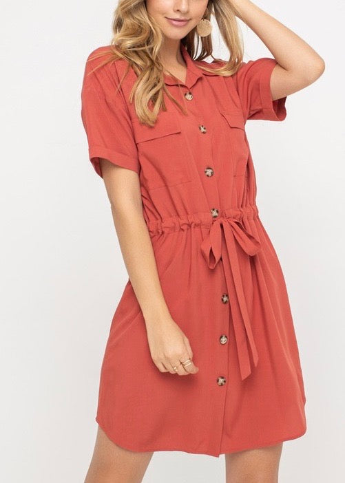 ARI DRAWSTRING SHIRT DRESS
