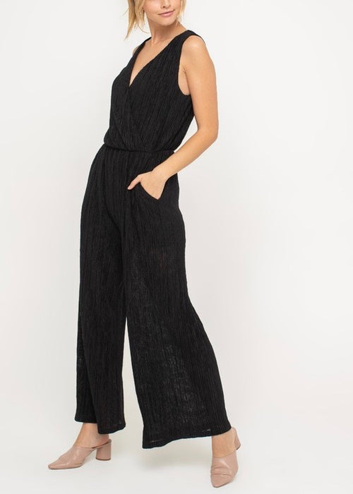 WIDE LEG FAUX WRAP JUMPSUIT