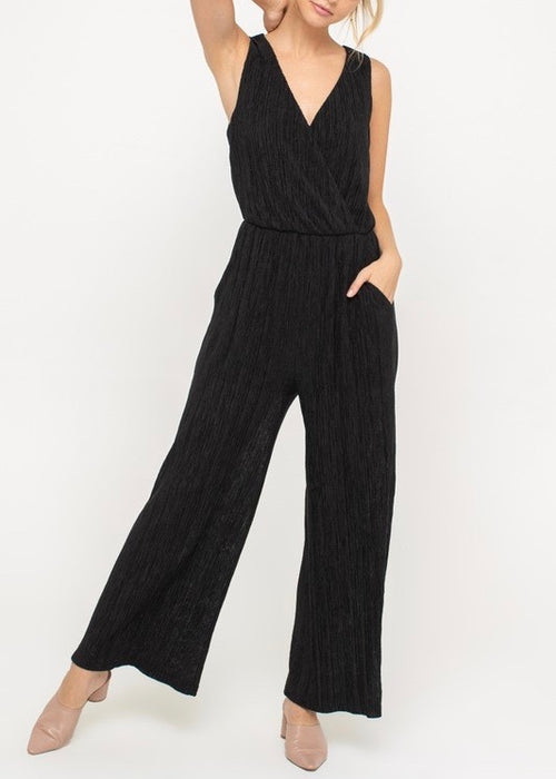 TEXTURED V-NECK JUMPSUIT
