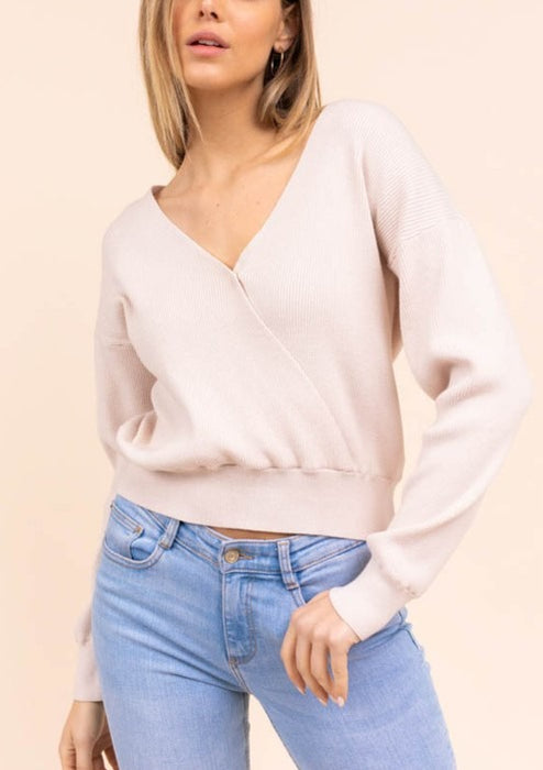 Cream wrap sweater