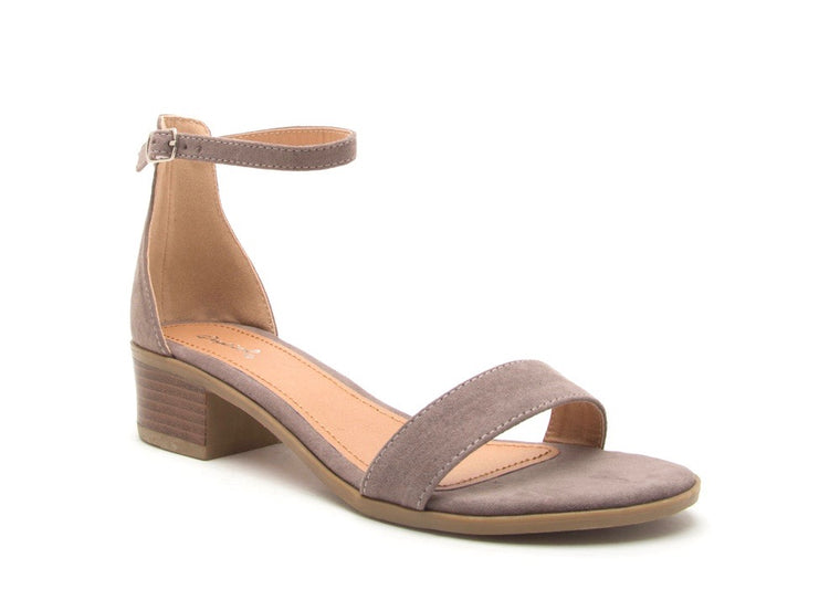 TAUPE ONE STRAP LOW HEEL SANDAL