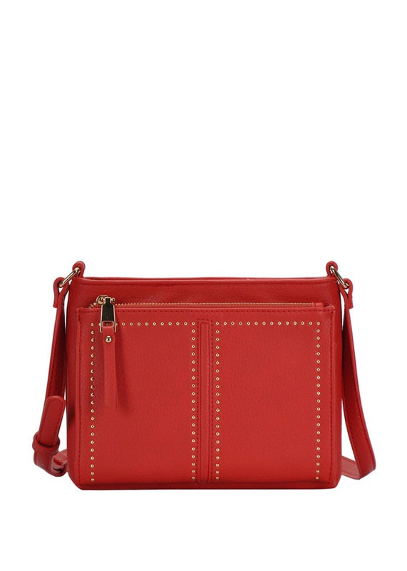 Red Cross body bag with gold studs