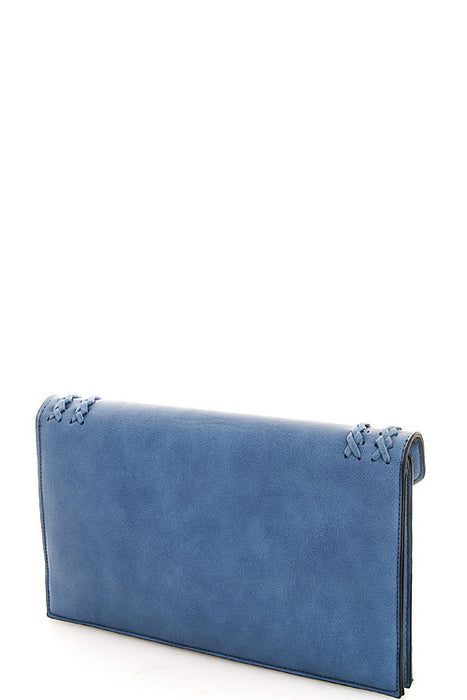 JOLIE POWDER BLUE TASSEL ENVELOPE CHAINED CLUTCH