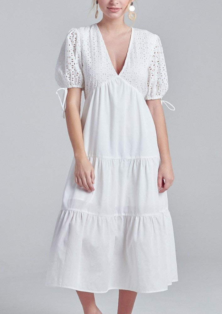 SARA WHITE MIDI DRESS