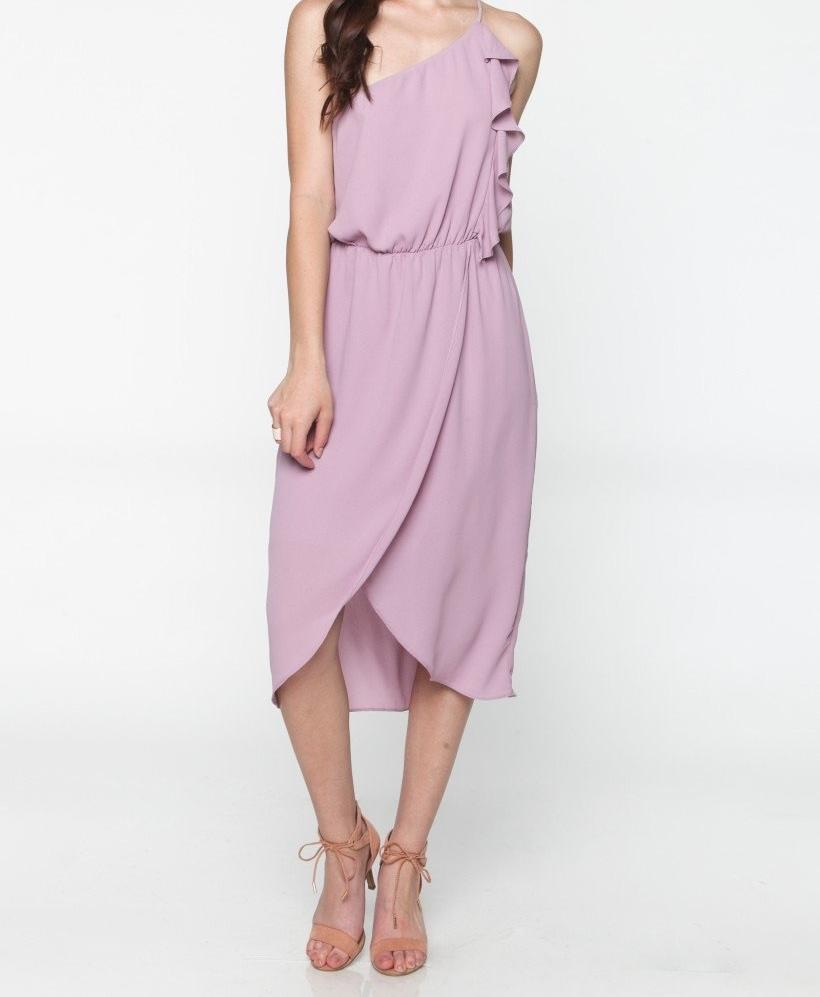 CARMEN LILAC RUFFLE ONE SHOULDER DRESS