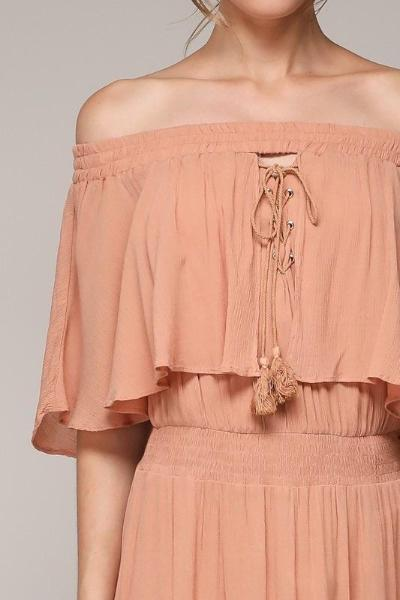 HEIDI OFF THE SHOULDER PEACHY LACE UP BOHO MAXI DRESS