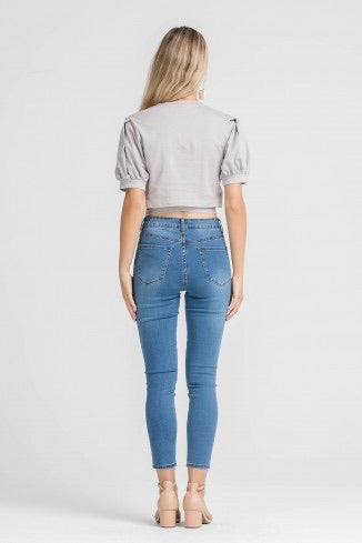 LYLA CLOUD GREY TIE BACK KNIT CROP TOP